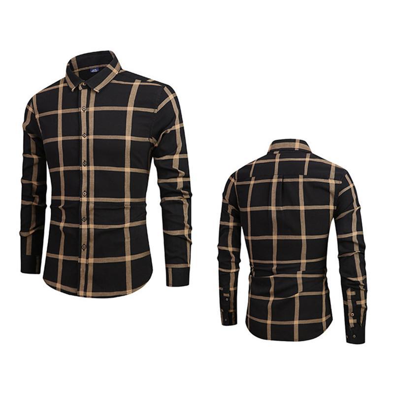 2019 frühling männer plaid shirts casual baumwolle herrenbekleidung geschäftsmann dress shirt weiche herrenhemd langarm cool top