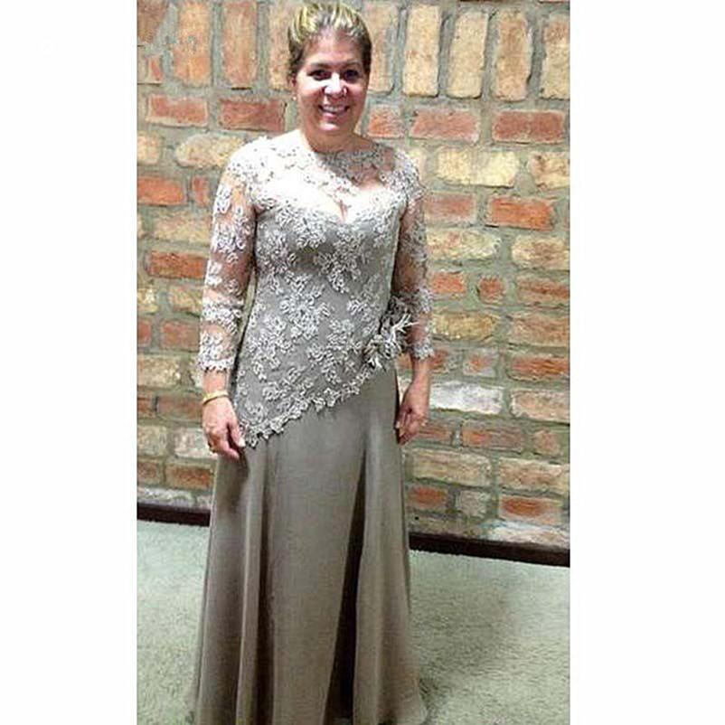 Plus Size A-Line Mother of the Bride Dresses Appliqued Lace Chiffon Long Sleeves Mother Evening Prom Dress Wedding Party Gowns
