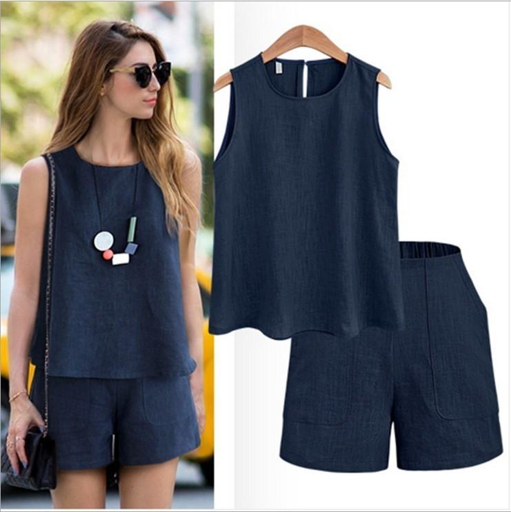 Due pezzi Set per le donne 2018 Abiti Moda Casual cotone Lino manica corta Tops + Shorts Imposta Office Suit Plus Size Y19051402