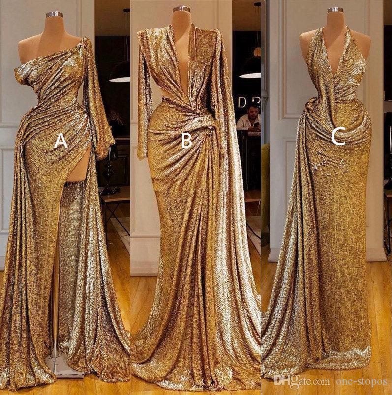 2020 Abiti con oro riflettente promenade della sirena High Side Split una spalla sexy maniche lunghe sera convenzionale Pageant Gown