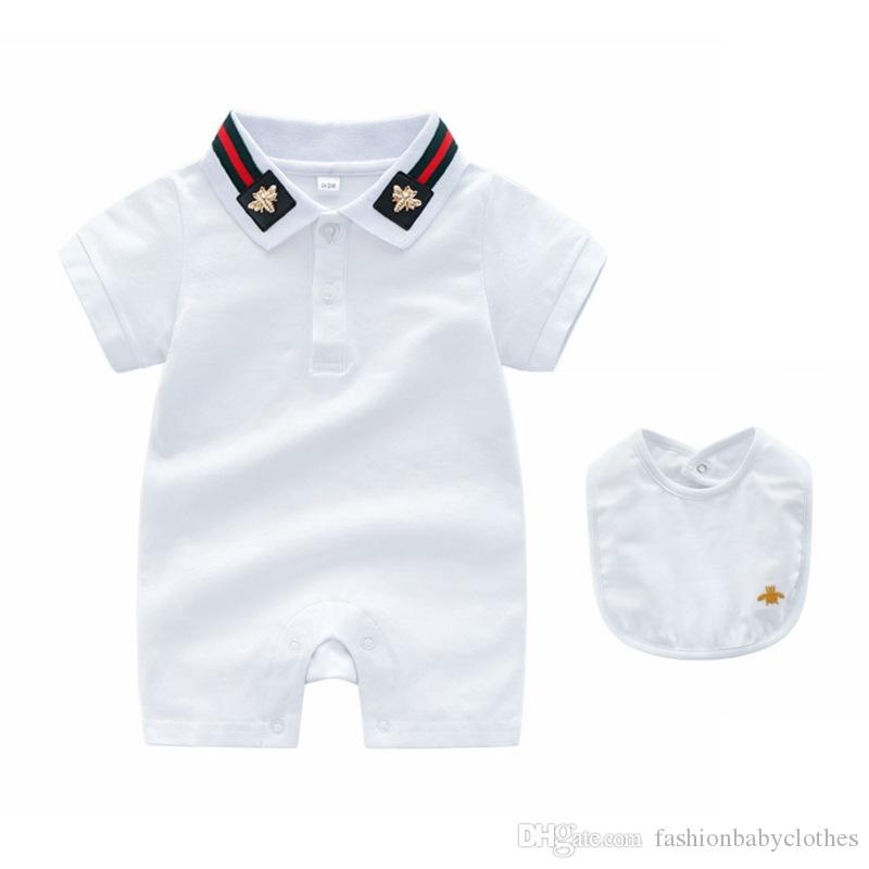 Лето Мальчики Одежда для младенцев коротким рукавом комбинезона Новорожденный Romper + нагрудники 2 шт Baby Boy Одежда малышей Новый новорожденный 0-24 Rompers младенца