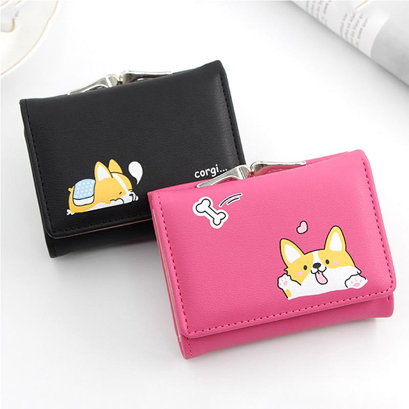 wallet women Small Wallets Cartoon Cute Doge Design card holder animal PU Leather Short Money Purses With Coin Pocket