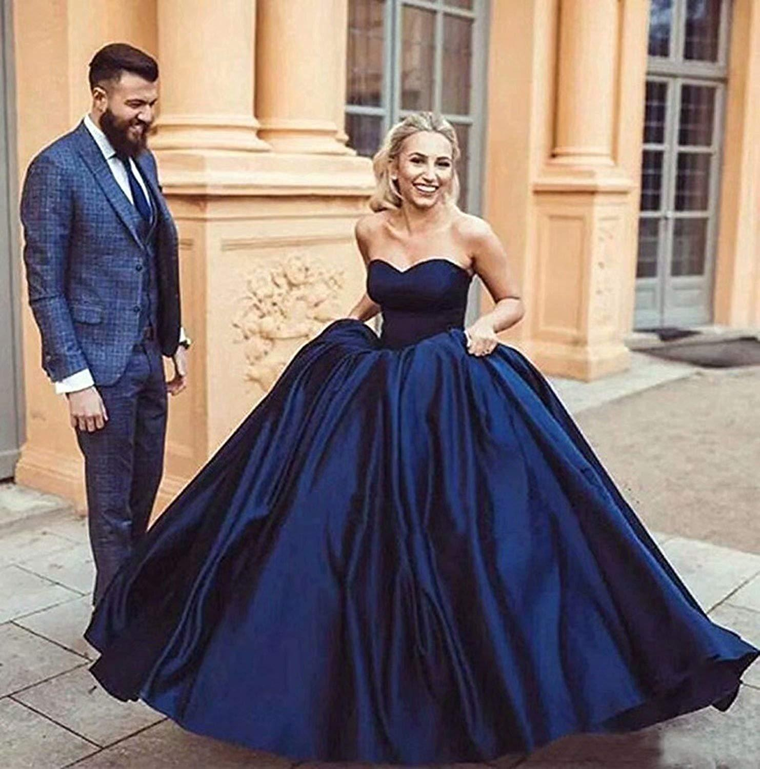 Navy Blue Ball Gown Prom Dresses 2019 Strapless
