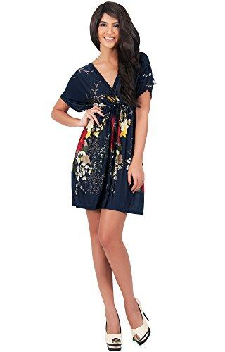 Vestidos casuais koh mulheres floral impressão verão kimono manga v-pescoço sexy praia mini vestido