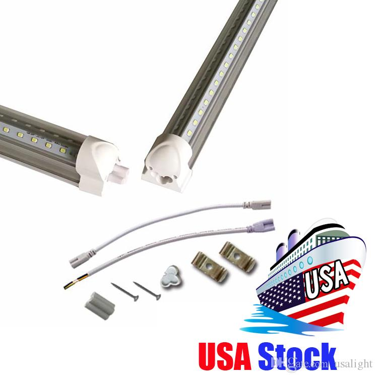 Integrated 8 ft led light T8 Tubes V Shape Cooler Door USA America LED bulbs 4ft 5ft 6ft LED fluorescent lights AC85-265V