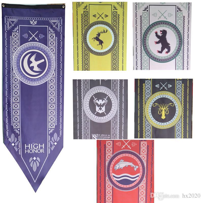 Juego de tronos stark flag Familias bandera Decoración para el hogar Wolf Dragon Poliéster Tronos Banner juegos de banderas decorar 45X150 cm ST056