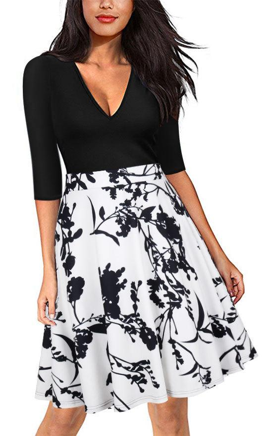 Fashion-Lady Dresses Evening Wear New Style Donna Maglioni Hot Casual Maniche lunghe Stampa Gonna Summer