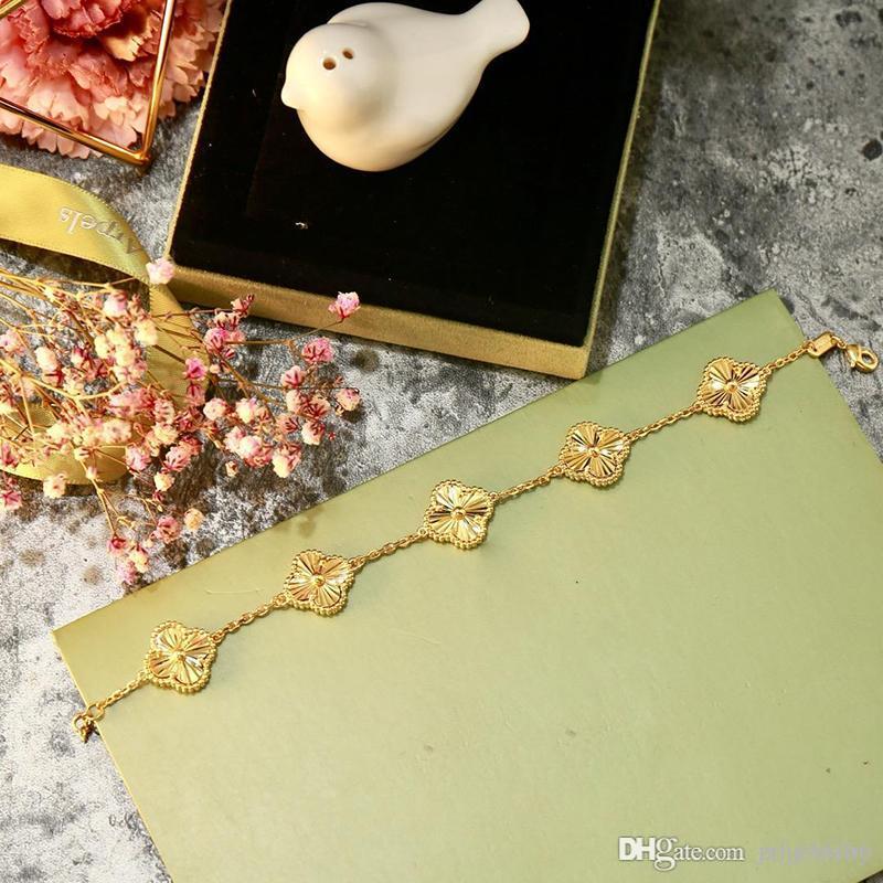 2019 Новая мода Шарм Браслеты конструктора пять Четыре листа клевера браслет для Womens Роскошные Золотые украшения Для женщин