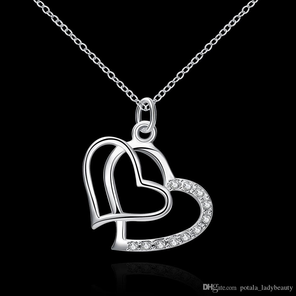 Mosaico zircone pendente placcato doppio cuore d'argento scorrevole Catena collana non incluso moda elegante Giorno del Ringraziamento regalo POTALA091