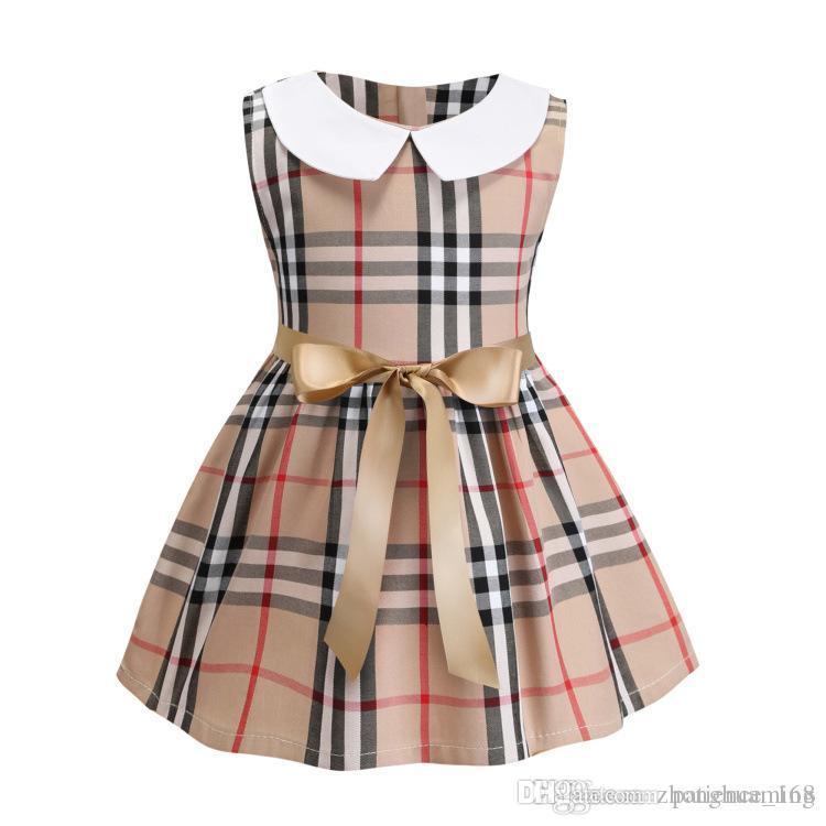 여자 드레스 2019 봄 여름 새로운 스타일 INS 새로운 도착 여름 화이트 컬러 인형 칼라 민소매 코튼 여자 우아한 격자 무늬 드레스