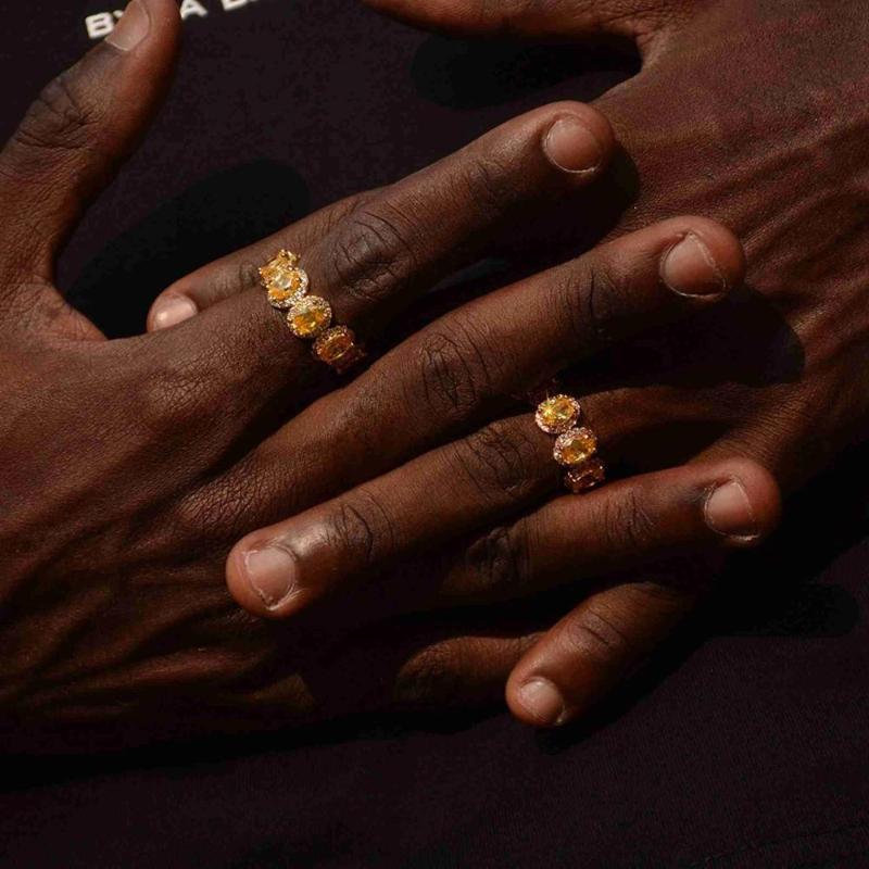 Размер США 8 9 10 золото желтый cz кольцо овальный agg образный кубический цирконий обручальное кольцо хип хоп цвет камень палец кольца мужчины женщины