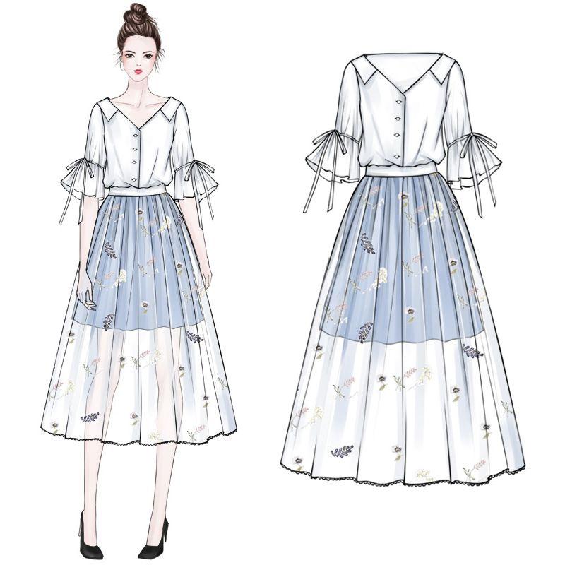 2 parçalı setler 2020 iki parçalı set etek üstleri ve bluzlar v boyun üst bayanlar kadın giyim Womens