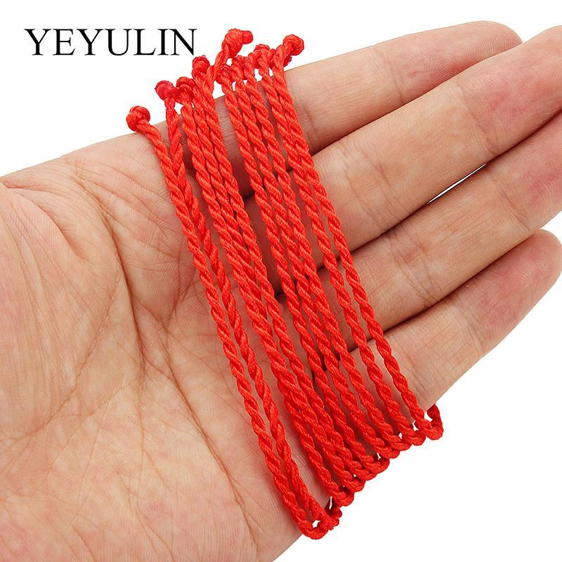 Cadeia barato Fazer a ligação Pulseiras 10 Pcs Red Line 2 milímetros trançada vermelha Boa Sorte / corda / corda pulseira feminina homens