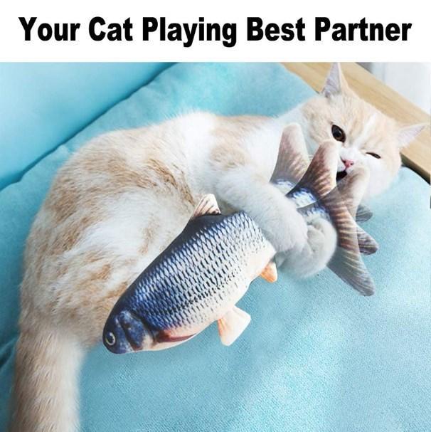 Köpek Kedi Çiğneme Kedi sallama Oyuncak Isırma oynamak için Simülasyon Balık Oyuncak Şarj Elektronik Pet Kedi Oyuncak Elektrik USB