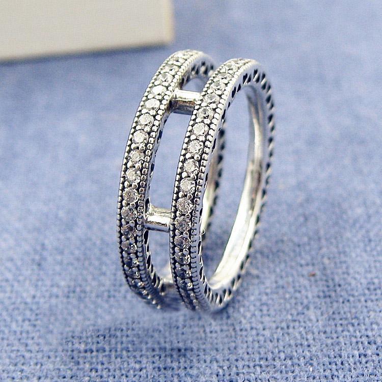 Commercio all'ingrosso di alta qualità 925 doppio anello anello di cristallo Set scatola originale per Pandora CZ diamante delle ragazze regalo di nozze anelli