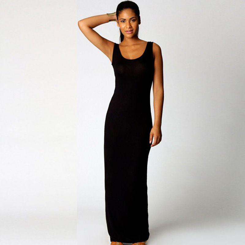 Plus Size 3XL High Stretch Tank Robe Summer Elegant Women Sexy Beach Dress O-neck Sleeveless Slim Maxi Dress Long Dress Vestidos