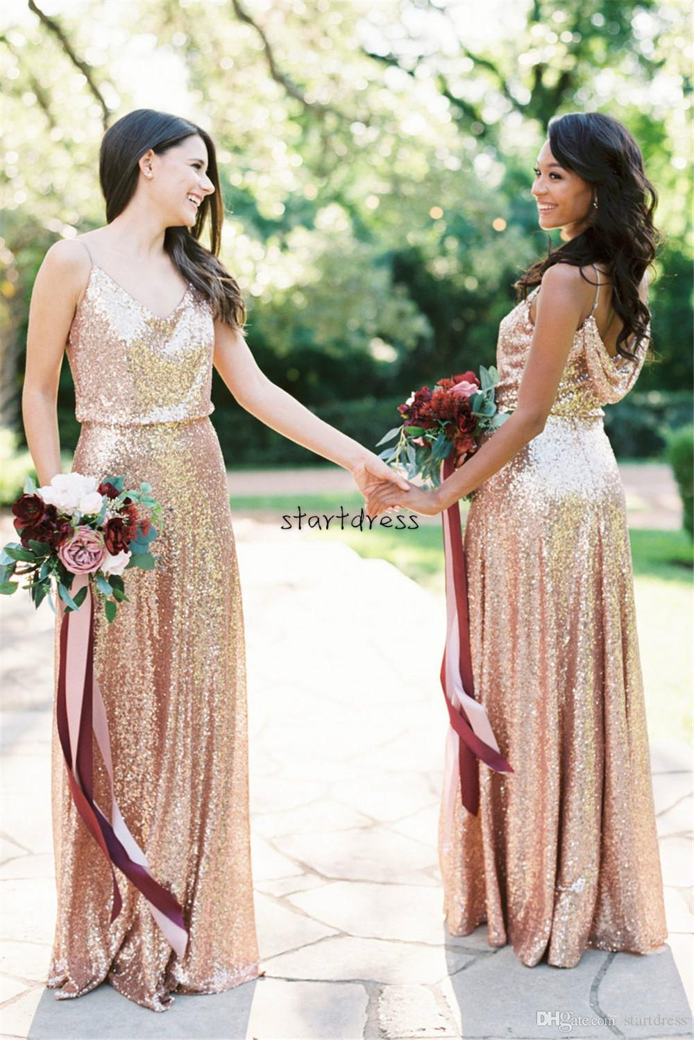 Long Rose Gold Sequins Country Bridesmaid Dresses South African Spaghetti Straps Full Length Summer Beach Maid of Honor Cheap Backless Gowns