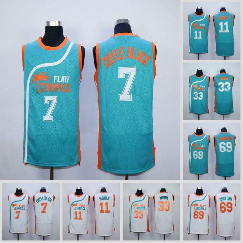 Mens Flint Tropics Semi Pro 33 Jackie Moon 11 Ed Monix 7 Coffee Black 69 Downtown Funky Stuff Malone Basketball Jerseys