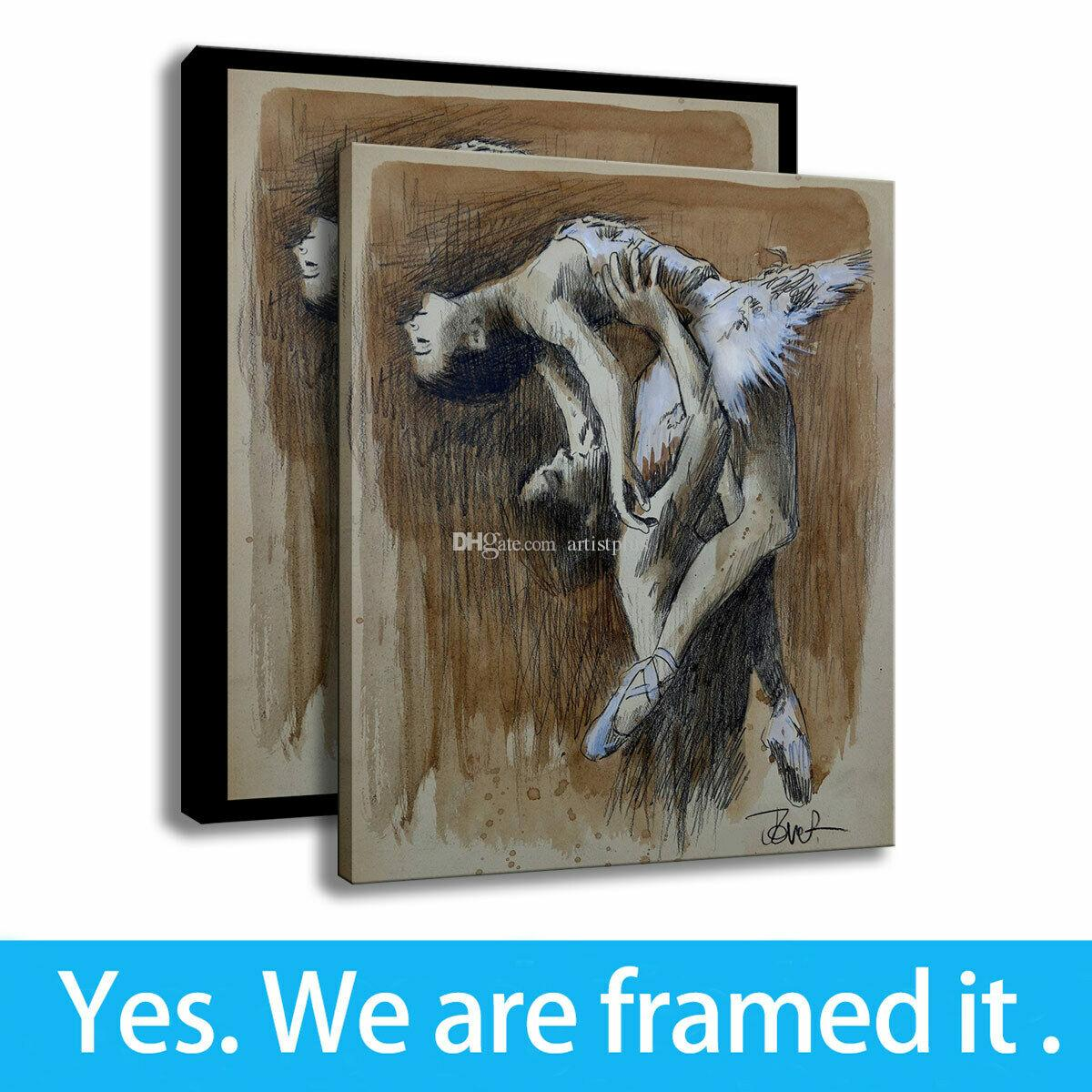 Modern Canvas Painting HD Print Ballet Dance Art Girl Room Decoration Framed Art - Ready To Hang - Support Customization