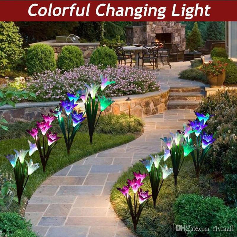 Solar Powered Outdoor Light Lily Flower Garden Stake Solar LED Light Lamp