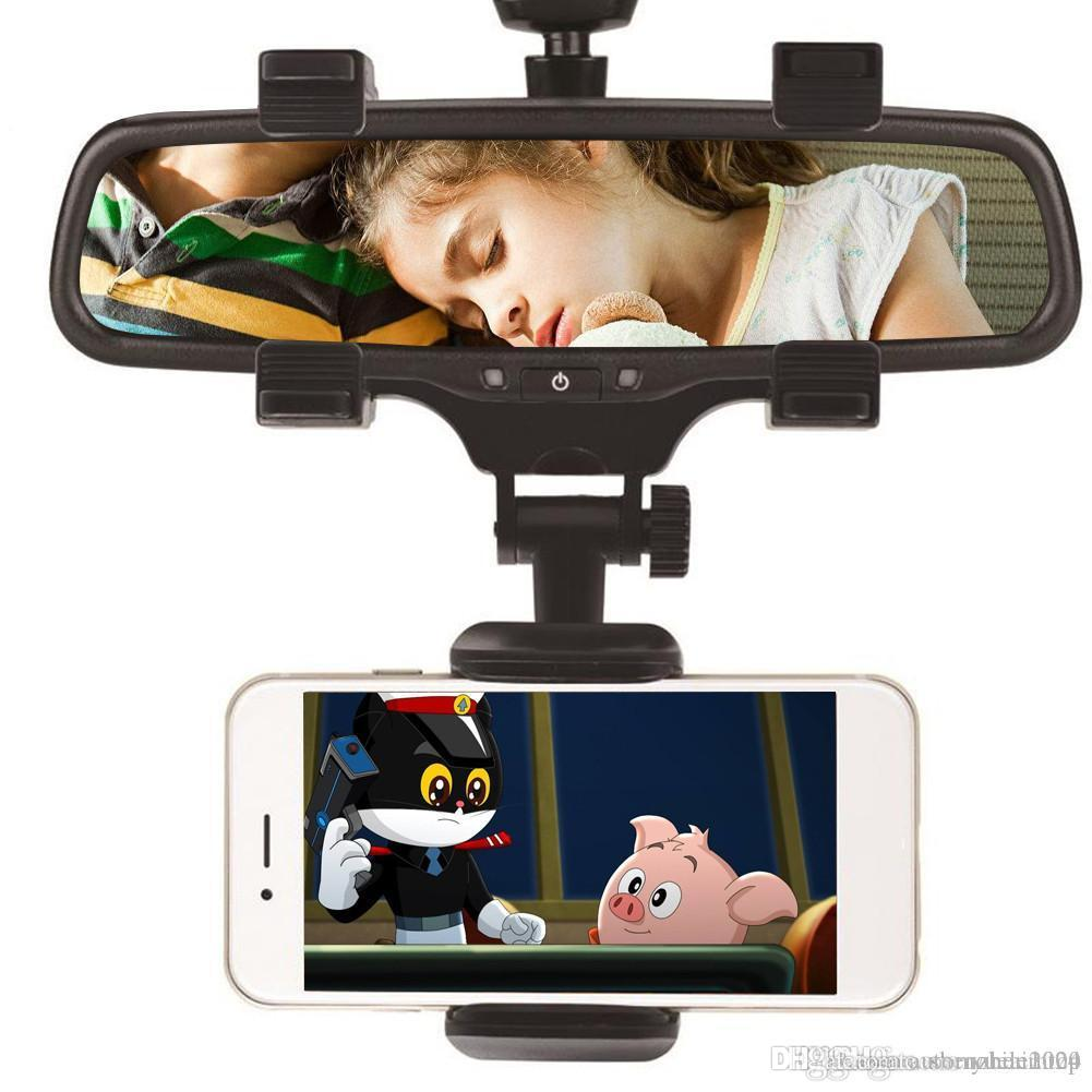 Universal 360 Degrees Car Rearview Mirror Mount Phone Holder Mobile Phone Holder Stands For iPhone GPS Smartphone With Retail Package