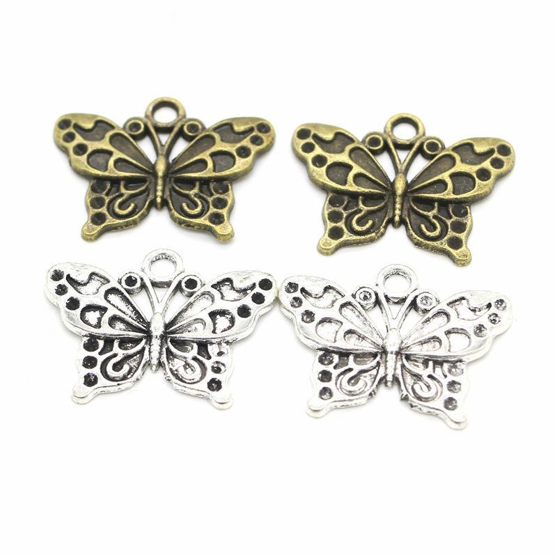 55pcs mariposa encantos de la joyería de DIY que hace Pendientes Collares Pulseras Fit colgante hecho a mano Crafts encanto de plata de bronce