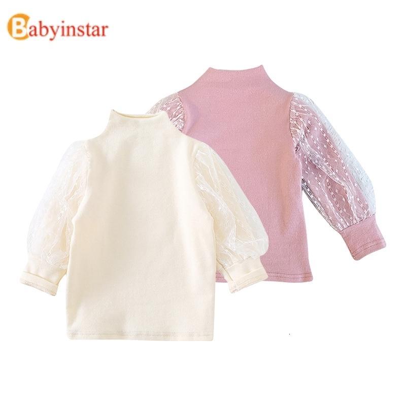 Moda, 2-6 años de chicas Las camisetas para los bebés muchacha del niño de manga larga Tops invierno Undershirt del algodón del cordón camisetas de los niños para las muchachas T191014