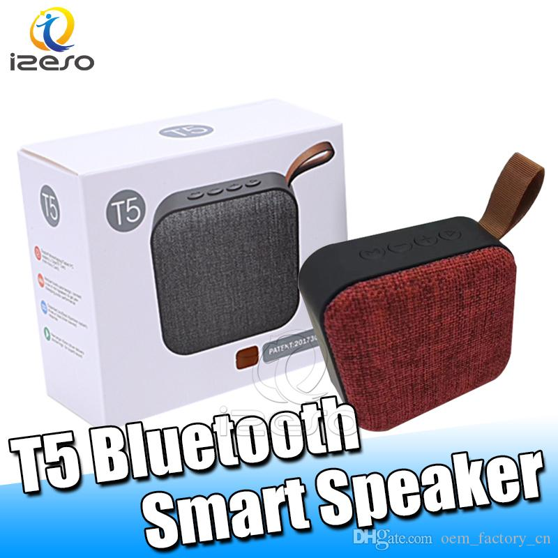T5 Bluetooth 4.2 Cloth Speaker Handsfree 3D Bass Stereo Home Theater Surround Loudspeaker Travel Small Speakers with Retail Packaging izeso