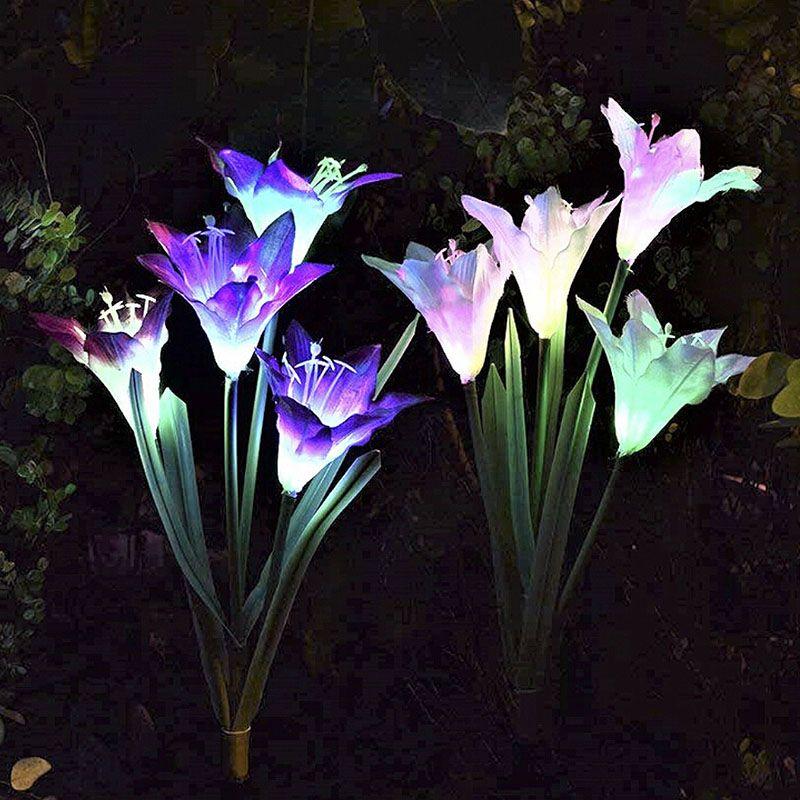 Уличные солнечные садовые фары Модернизированные водонепроницаемые солнечные фонари с 4 цветами лилии 7 цветов меняющиеся светодиодные солнечные фары