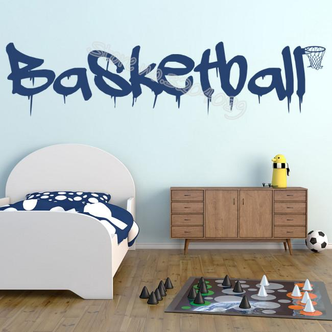 Basketball Quote Sports Wall Sticker Basketball Logo and Ball frame Home Interior Decor Kids Boys Childrens Bedroom Mural