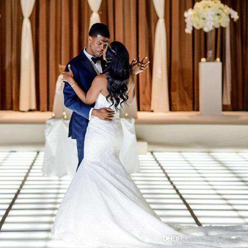 Sud della sirena Abiti da sposa africani Elegante fuori dalla spalla Appliqued merletto Corte dei treni Western Garden sposa abiti di nozze Plus Size
