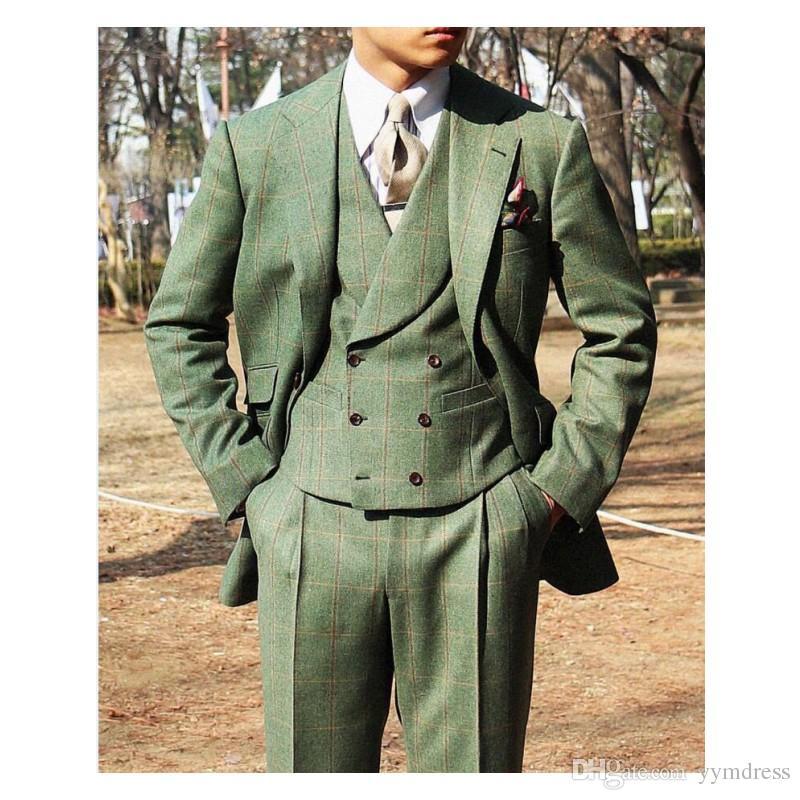 Lo sposo scozzese verde si adatta allo smoking da sposa in lana slim fit notch bavero sposi uomini giacca smoking smoking (giacca + pantaloni + vest + cravatta)