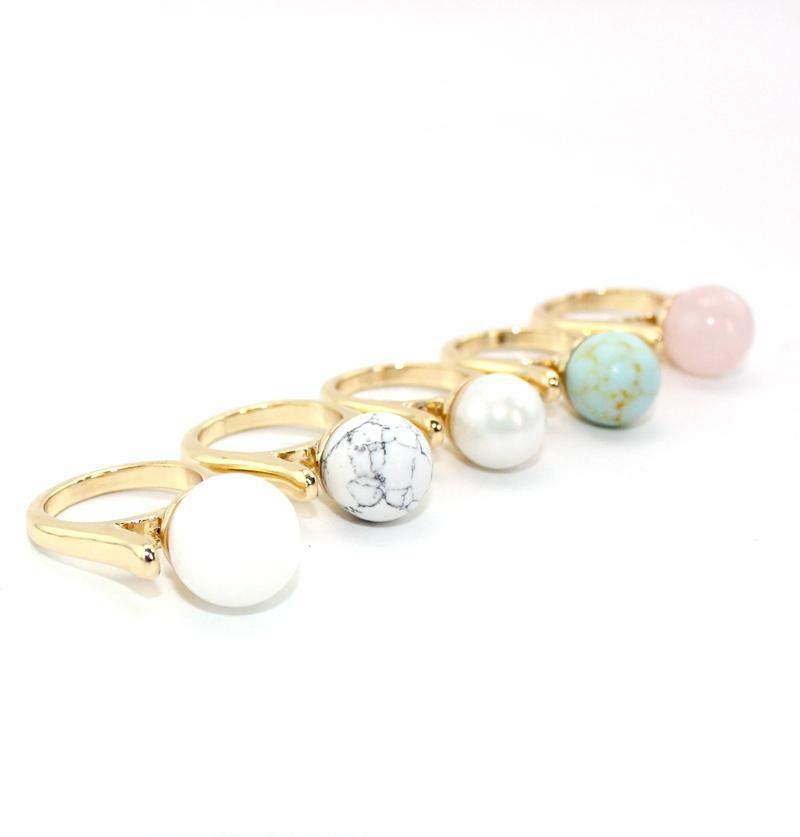 Fashion White Blue Turquoise Ring for Women Jewelry Gold Rose Quartz Druzy Pearl Natural Stone Bead Geometry Ring