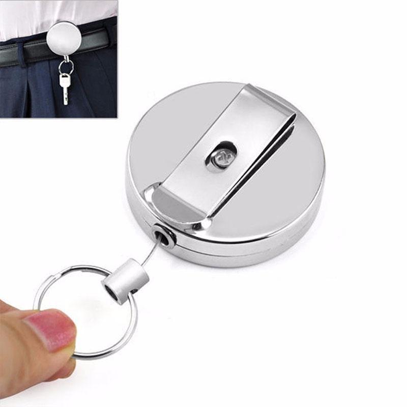 Carrete de cadena de tracción retráctil duradero Buen metal Tarjeta de identificación delicada Insignia Porta carrete Clip de cinturón de retroceso DHL gratis 1262