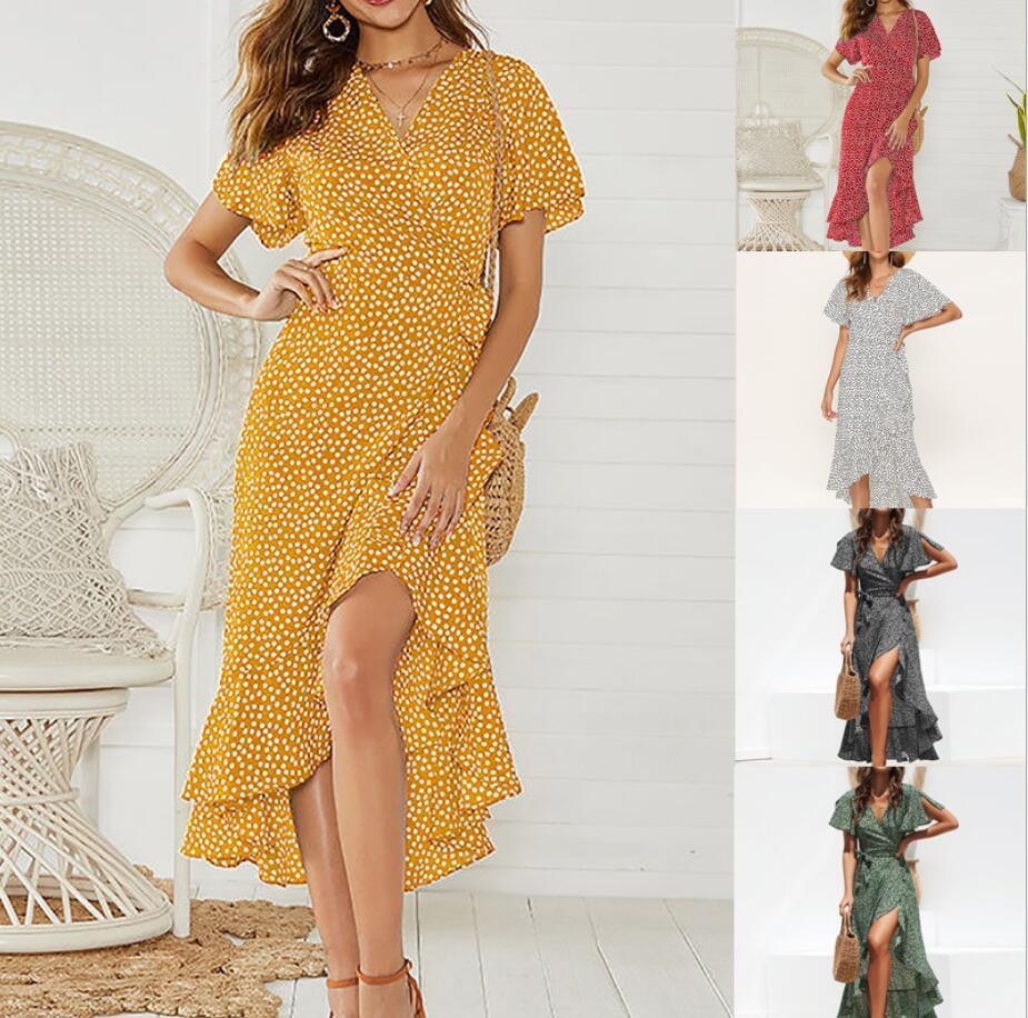 Yaz Euro Moda Stil Kadın Giyim Elbise V Yaka Kısa Kollu Tam Çiçek Düzensiz Elbise Şifon Ruffles Tasarım Bayan Günlük Elbiseler