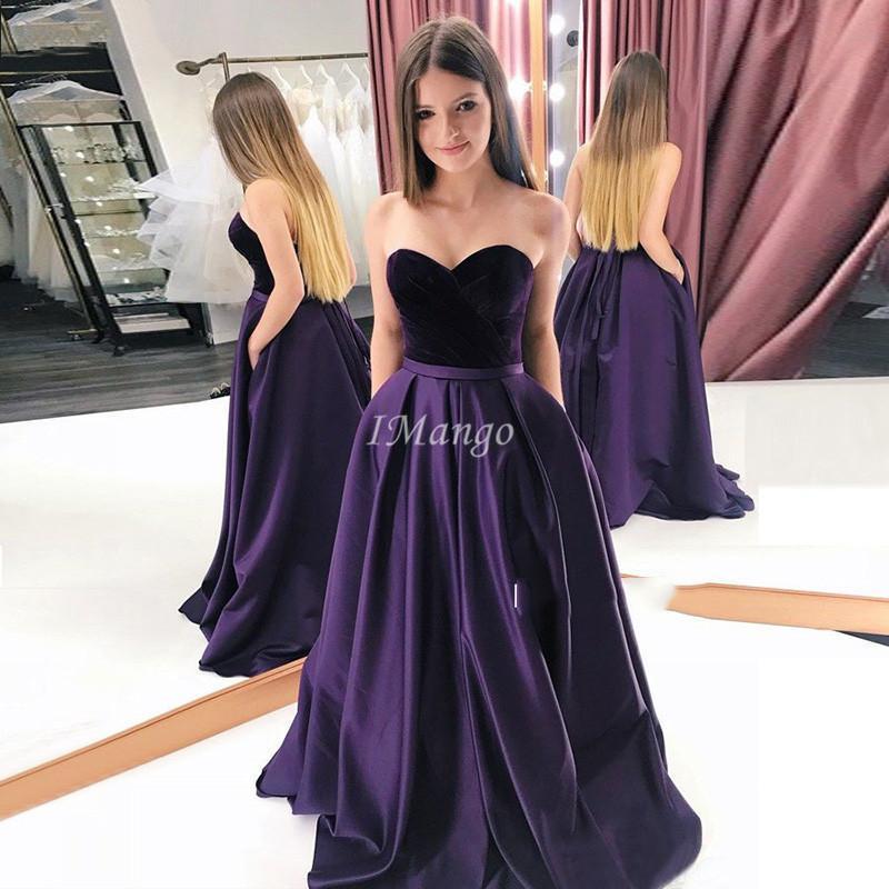 Chic Velvet Prom Dresses Sweetheart Lace-Up Back A-Line Formal Graduation Evening Gowns With Pockets Vestidos De Festa