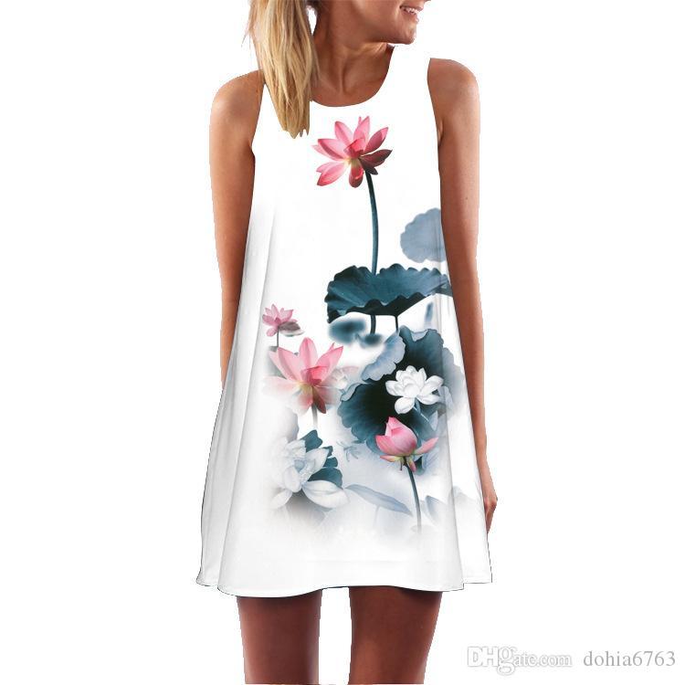 Retro dijital baskı yuvarlak boyun yelek elbise kadın 3D haneli baskı kadın elbise kadın Avrupa ve Amerikan kadın yeni ürünler