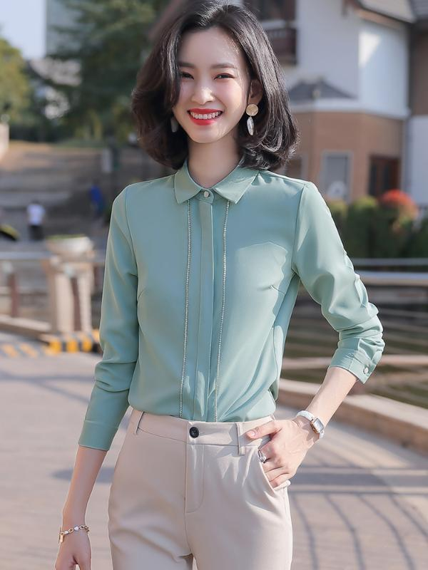 Green white black full sleeve blouse shirt for office lady turn-down collar long sleeve women work wear formal tops Size S-4XL