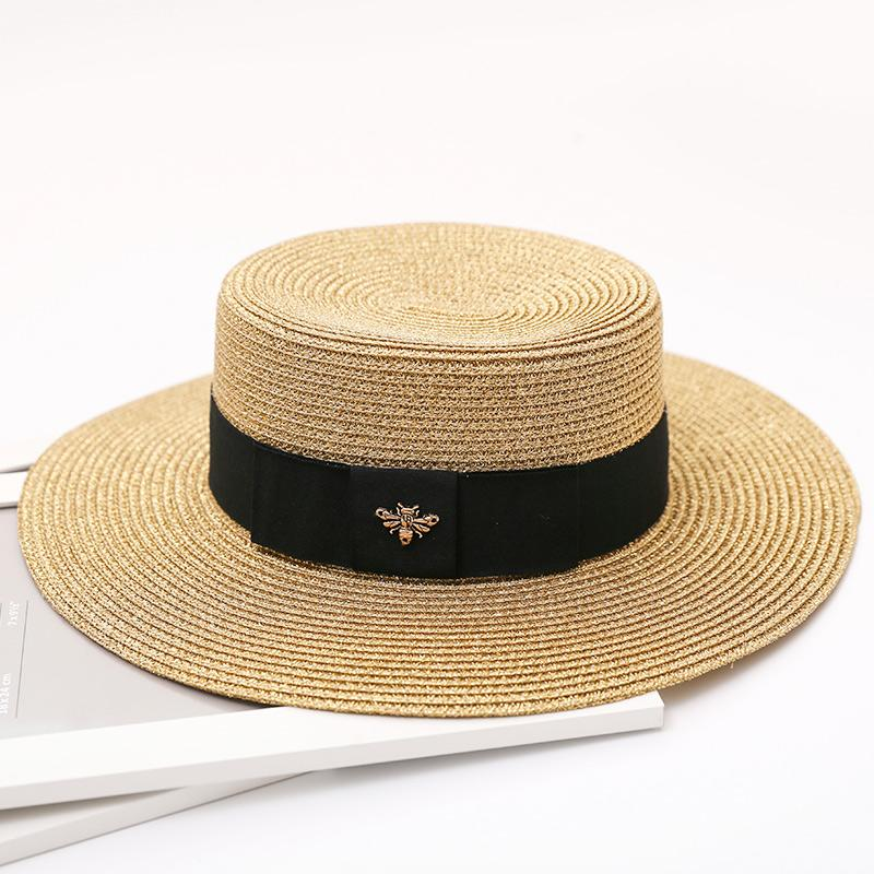 wholesale 2017 New Summer Women Hats Bling Golden Fashion straw hat England Sea Beach trip caps fast shipping
