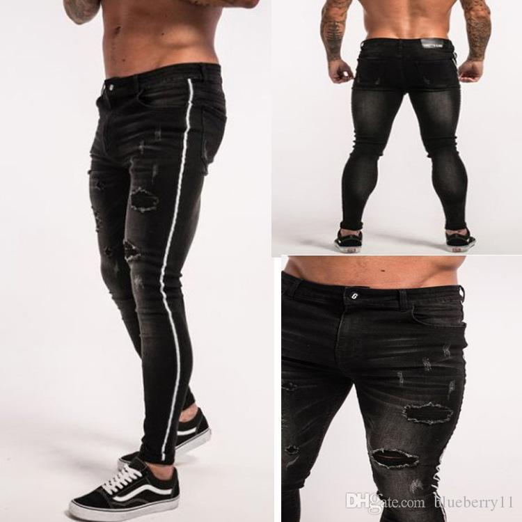 Verão preto sólido Hip Hop rasgado Jean Buraco Calças retas Streetwear Casual Designer Slim Fit jeans calças tamanho 28-34
