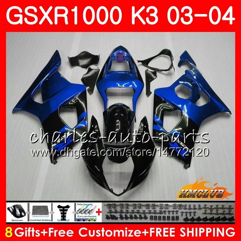 Rahmen für Suzuki GSX-R1000 GSXR 1000 GSXR1000 03 04 Körper 15hc.132 Karosserie GSX R1000 K3 GSXR-1000 03 04 2003 2004 Verkleidung Kit Blue Black