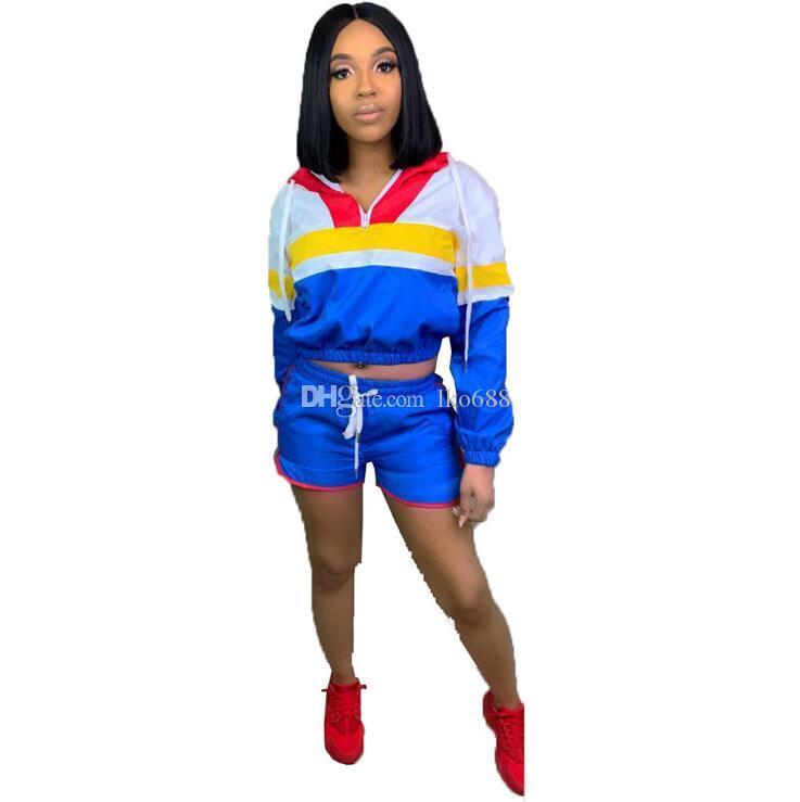 2 TWO PIECE SET Mini Shorts Crop Top Long Sleeve Patchwork Tracksuit Contrast Color Jacket Suit Sweatsuits Plus Size Windbreaker