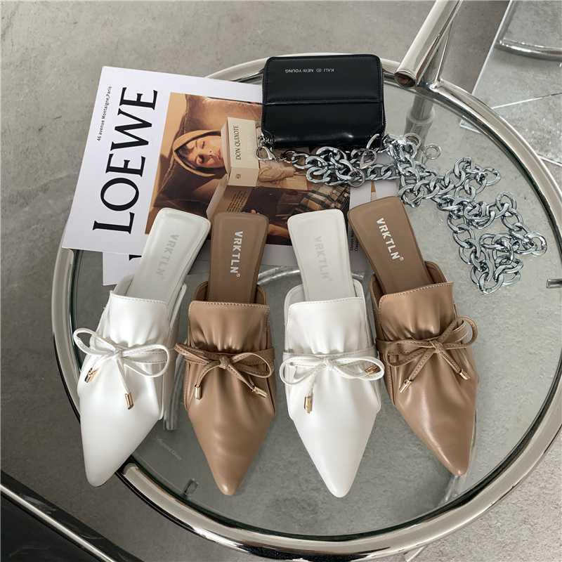 Pleated Leather Mules Women Shallow Pointed Toe Slippers Bow Knot Flats Shoes Slides Slip on Loafers Zapatos Mujer Apricot White