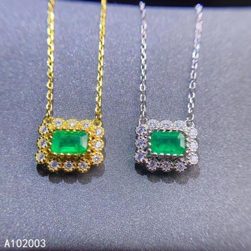 مجوهرات KJJEAXCMY الجميلة المرصعة 925 فضة الأحجار الكريمة الطبيعية باختبار الزمرد قلادة أنثى دعم