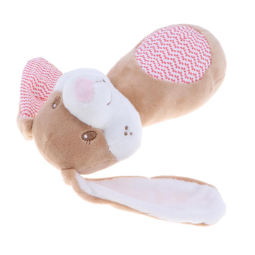 Adorabile coniglio rosa Sticks Rattle fumetto animale farcito Squeaker, giocattolo educativo peluche del bambino di mano di crepitio per il bambino scherza i più piccoli
