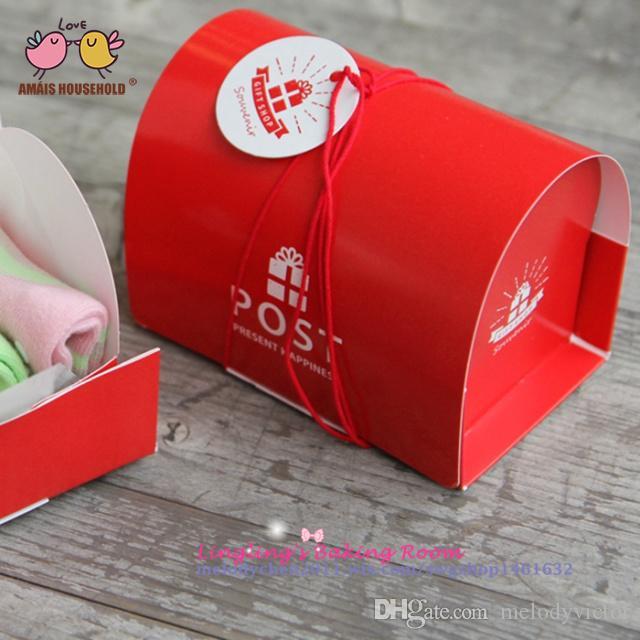 (30pcs/lot)12.5x8x9.5cm Post Box Shape Geschenk Box ,Gift Candy Cookie Paper Packaging Box, Christmas Decoration Geschenk Box