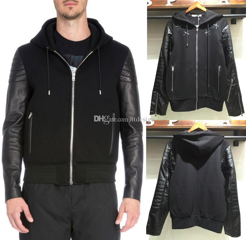 Men's Black Leather Patch Hood Sweatshirt Embroidery Star Casual Jogging Jackets Full Zipper For Men's Sweat Jumper