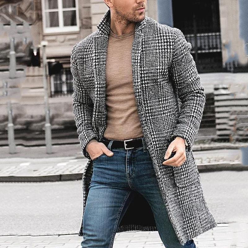 Mens Designer Winter Long Wool пальто Plaid Pattern Мода мужская Теплый кардиган пальто Manteaux Pour Hommes