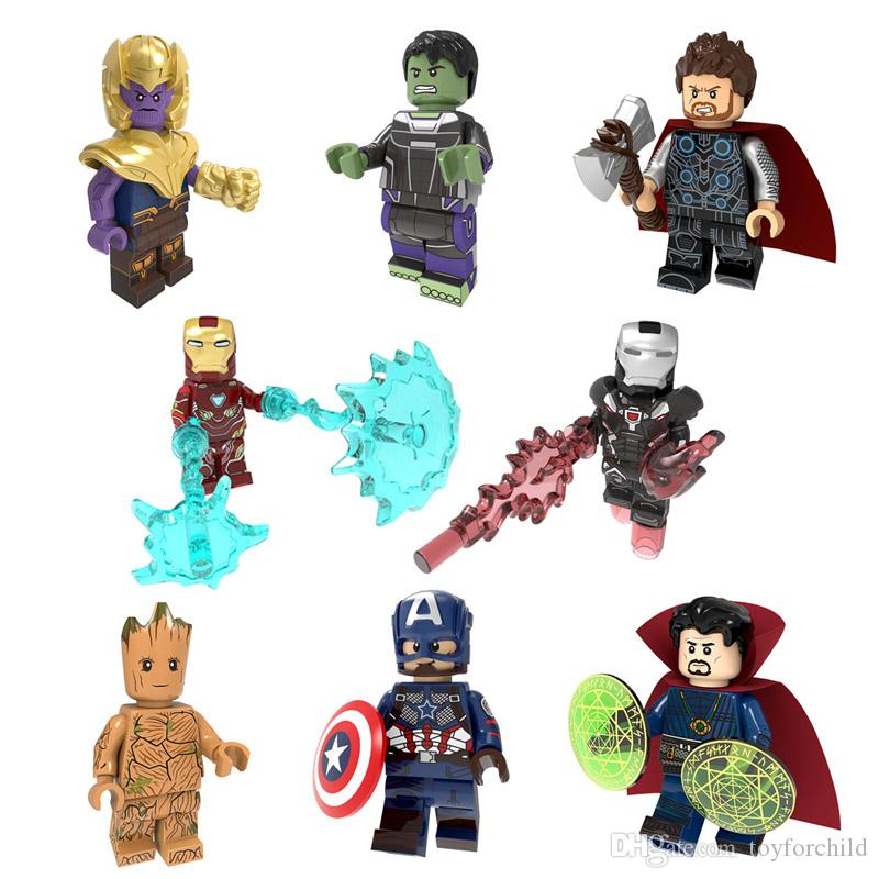Avengers Super Hero Mini Toy Figure Thor Thanos Captain America Iron Man War Machine Hulk Tree Man Groot Doctor Strange Building Block