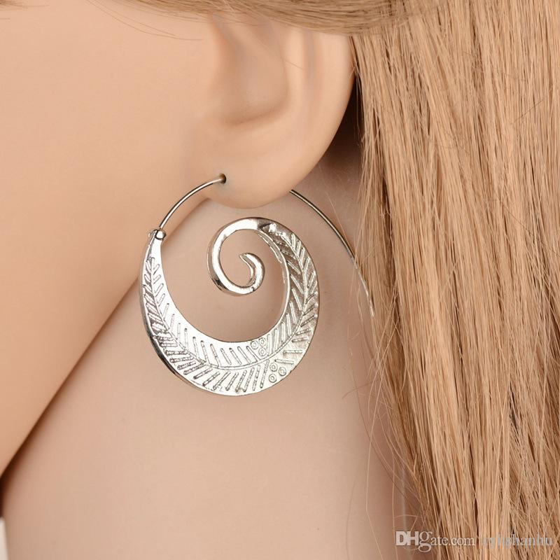 New Oval Spiral Ohrringe übertriebenes Whirlpool zahnradförmige Blätter Retro Ornaments Ohrringe für Frauen Frau Jewely E1703
